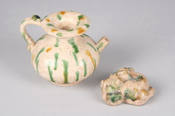 2: TWO PIECES CHINESE SANCAI POTTERY, Tang dynasty. - 3