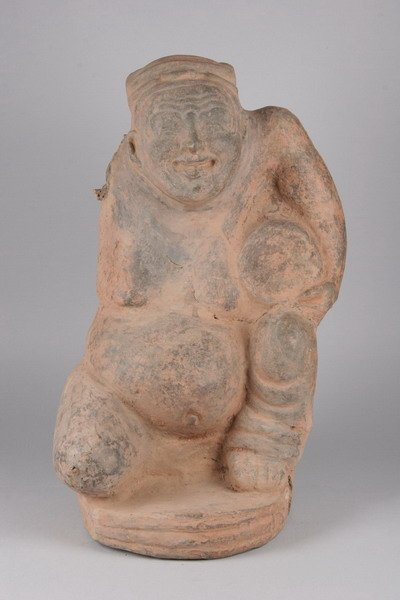 3A: LARGE AND FINE CHINESE GREY POTTERY FIGURE OF A MAN