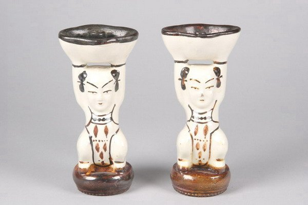 8: PAIR CHINESE CIZHOU POTTERY FIGURAL OIL LAMPS. - 6 1