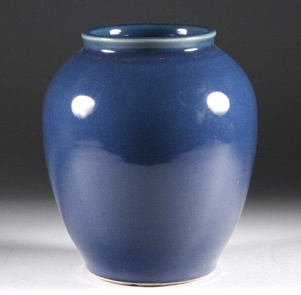 12: CHINESE MONOCHROME BLUE PORCELAIN VASE, 19th centur