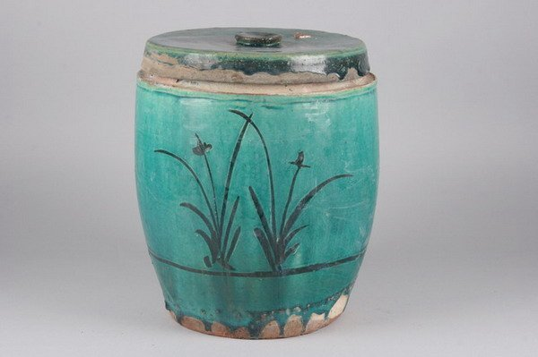 13: CHINESE TURQUOISE GLAZED POTTERY JAR AND COVER. - 1