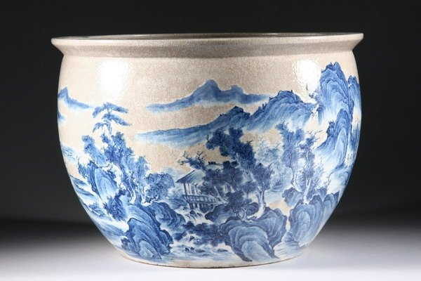 15: CHINESE BLUE AND CRACKLE GLAZE PORCELAIN FISH BOWL,