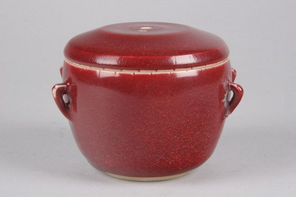 16: CHINESE COPPER RED PORCELAIN JAR AND COVER, Qianlon