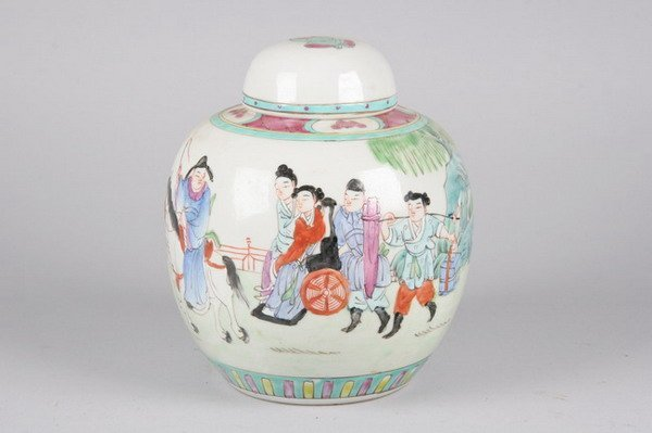 18: CHINESE PORCELAIN JAR AND COVER, 19th century. - 7