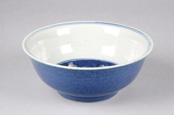 22: CHINESE POWDER BLUE PORCELAIN BOWL. - 6 in. diam.