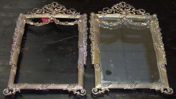 628: PAIR OF FRENCH GILT BRONZE FRAMES, 19th century. -