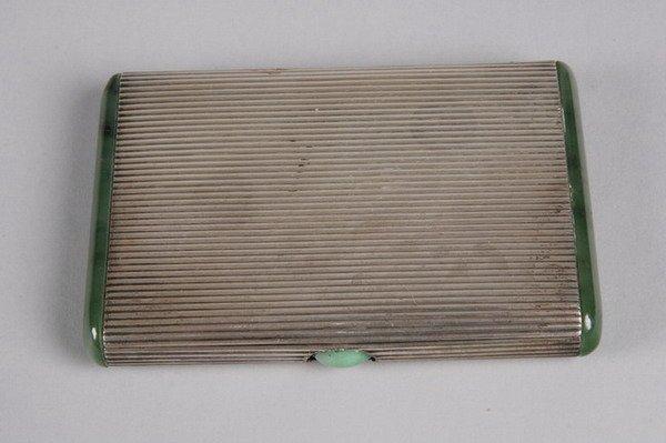 750: STERLING AND JADE ART DECO CIGARETTE CASE, circa 1