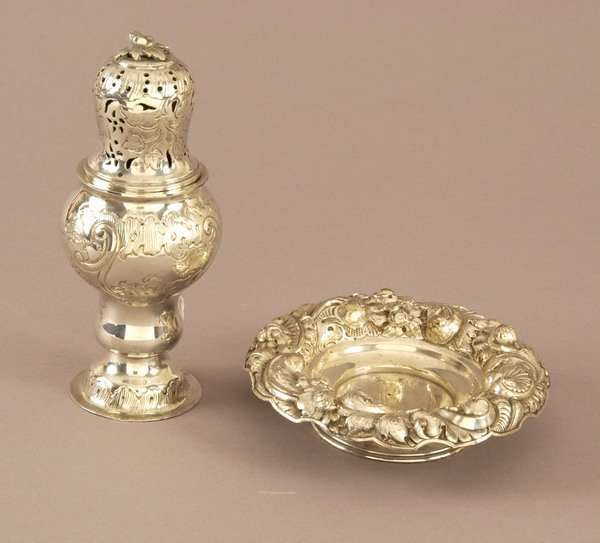 753: CONTINENTAL SILVER MUFFINEER AND FOOTED DISH. - 11