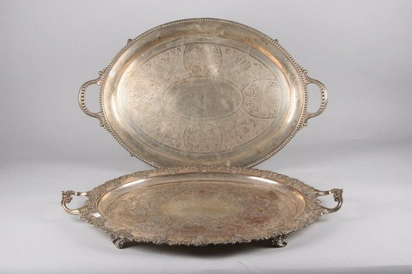 758: TWO VICTORIAN SILVER PLATED TWO-HANDLED OVAL SERVI