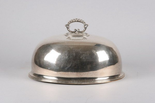 759: VICTORIAN SILVER PLATED DOMED MEAT COVER, late 19t