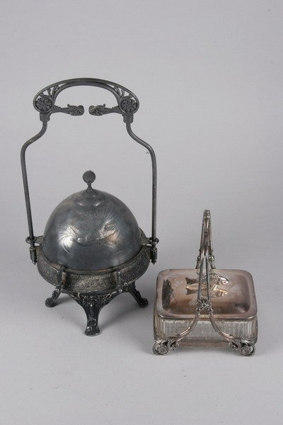760: TWO VICTORIAN SILVER PLATED TABLE ARTICLES.