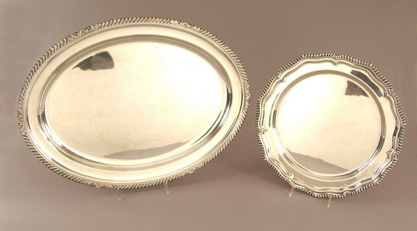 762: TWO ENGLISH SILVER PLATED SERVING PLATTERS. - 14 1