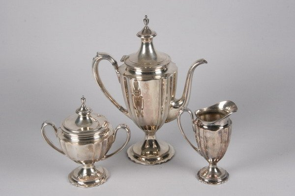 772: THREE-PIECE AMERICAN SILVER PLATED COFFEE SERVICE,