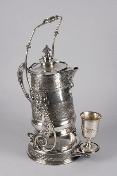 773: AMERICAN SILVER PLATED HOT WATER KETTLE ON STAND ,