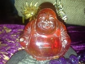 3: Solid Amber carving of laughing buddha statue