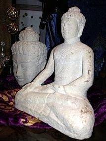 4: Limestone Buddha head and Shakyamuni Buddha