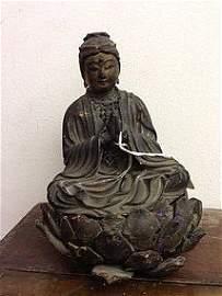 23: Japanese Kuan yin in wood & gild ming period 16th c