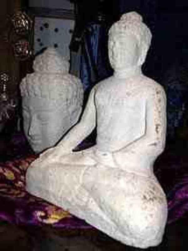 Limestone Buddha head and Shakyamuni Buddha