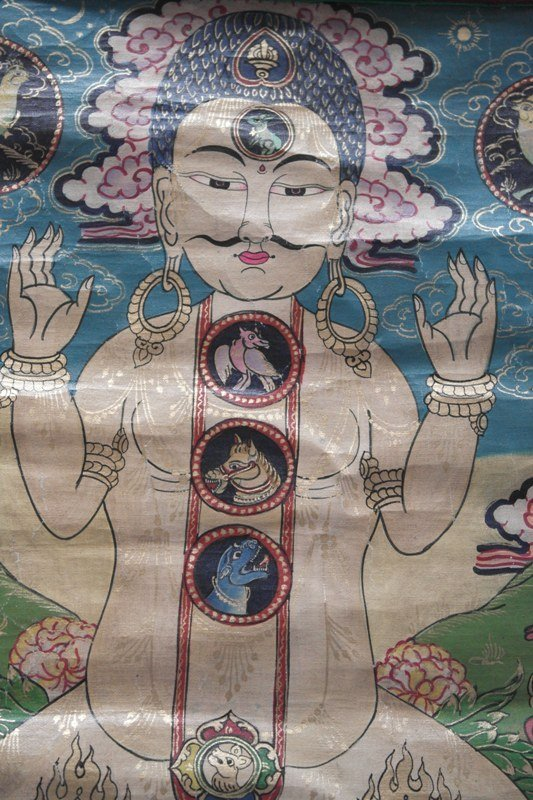 Tangka handpainted on silk by monks of chakras