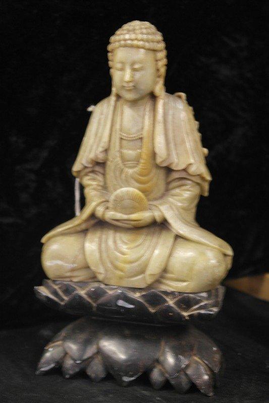 Jade colour soapstone buddha boddhisatva