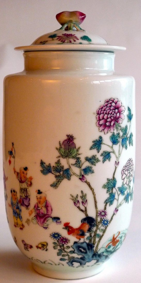 5: A late C19th Chinese enamelled porcelain vase and co