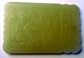A Chinese Ching Dynasty Jade Plaque The Celadon Sto