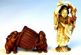 Two Late C19th Japanese Netsuke One With Wood Carve