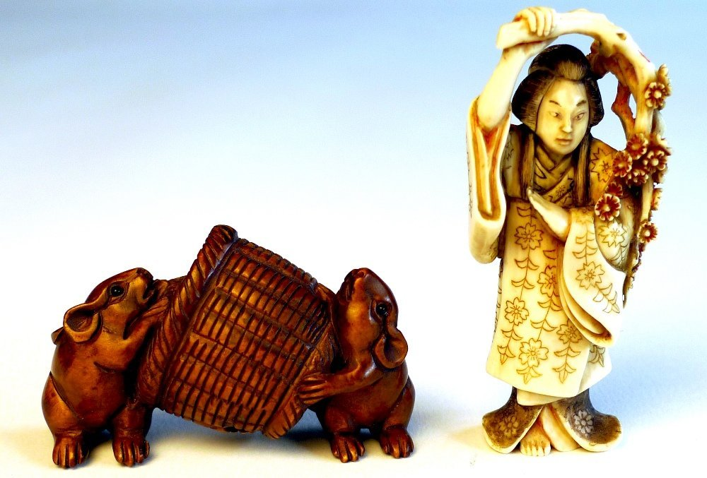 13: Two late C19th Japanese netsuke one with wood carve