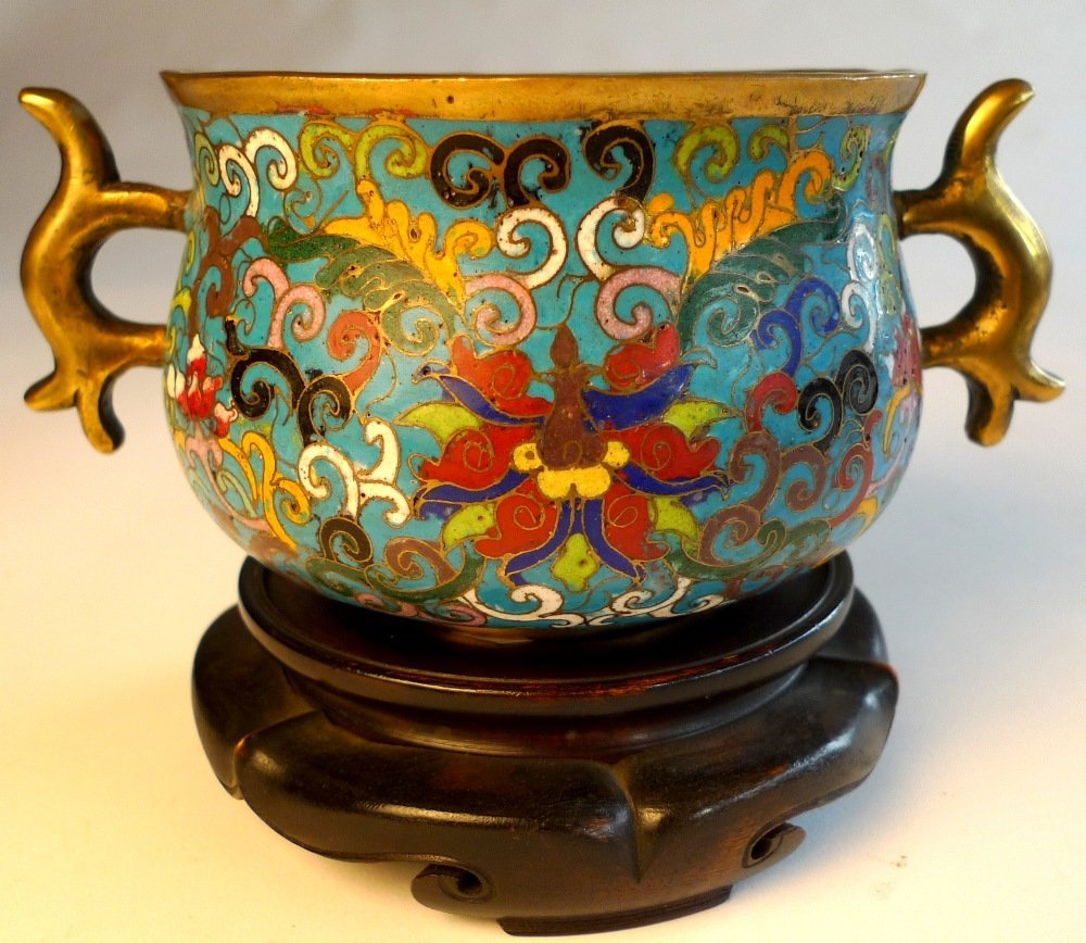 17: A Chinese Ching Dynasty cloisonne multi coloured tw
