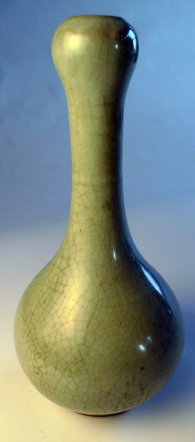 21: A Chinese C18th crackle glaze celadon  vase with ga