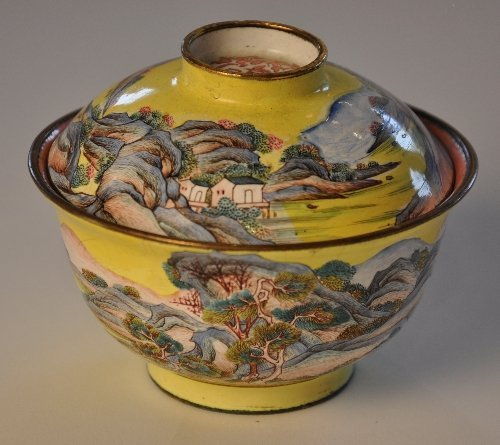 A C18th yellow ground canton enamel bowl and cover pain