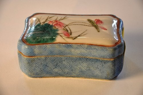 A Chinese Dau Guang 1821-1850 enamelled ink box with lo
