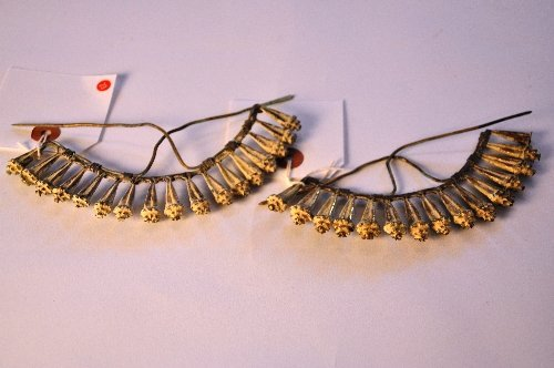 A pair of C10th Chinese gold fan shaped hair ornaments