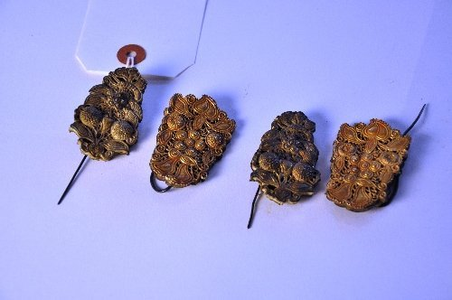 A set of four Chinese gold C10th hair pins with floral