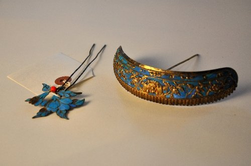 A late Qing Dynasty Chinese kingfisher feather bronze h