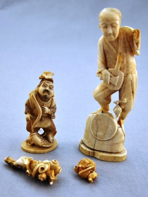 A collection of C19th/early C20th Oriental ivory figure