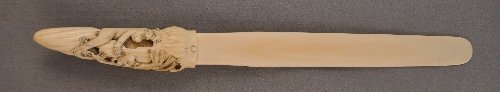 An unusually large Meiji carved ivory letter opener