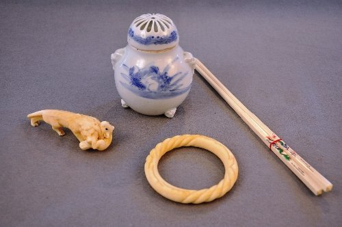 C19th Japanese Meiji Hirado porcelain koro and ivories