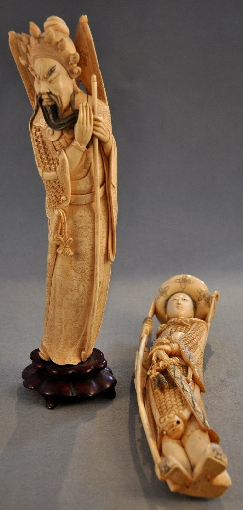 A Chinese Qing Dynasty ivory finely carved Immortal and