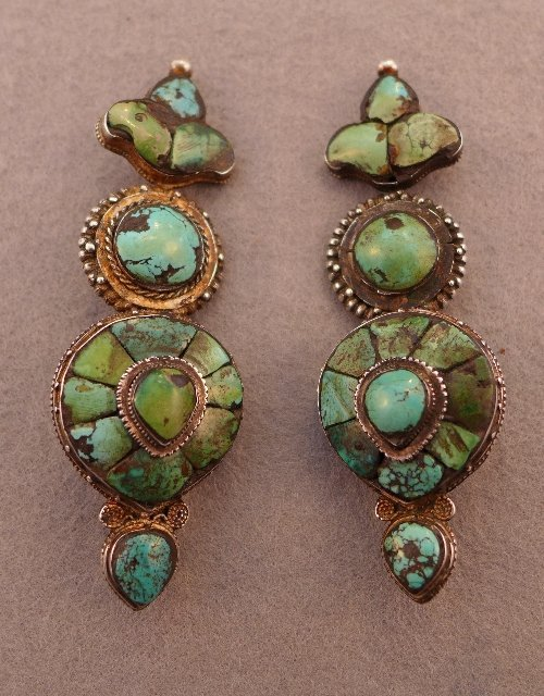 A pair of C19th Tibetan silver and turquoise earrings