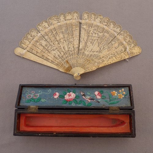 A Chinese Qing C18th/19th finely carved ivory fan