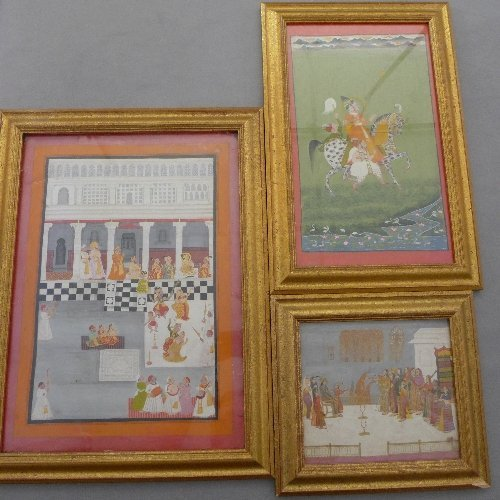 A collection of three C18th Indian gouache paintings