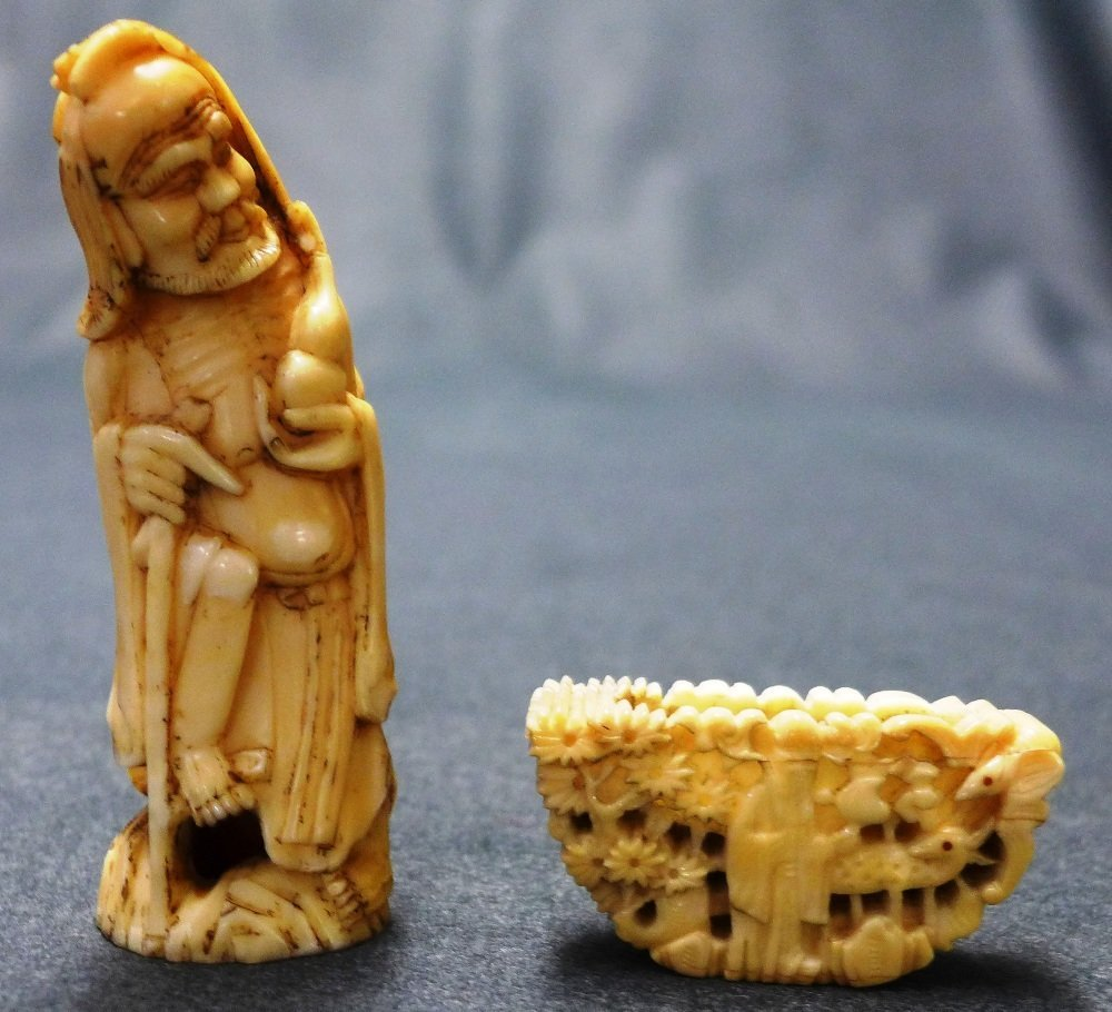 C19th Chinese Qing Dynasty Carved Walrus Tusk Immortal