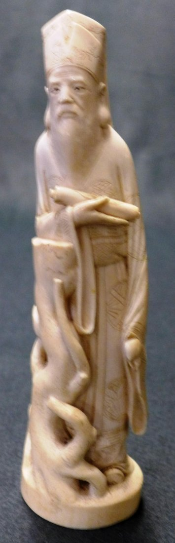 A C19th Chinese Qing Dynasty Carved Ivory Of Immortal