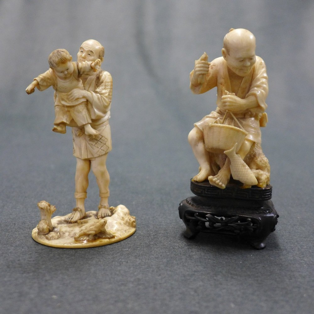 A C19th Japanese Carved Ivory Okamono Father With Child