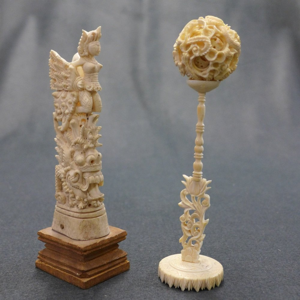 A C19th Chinese Ivory Puzzle Ball And an ivory totem