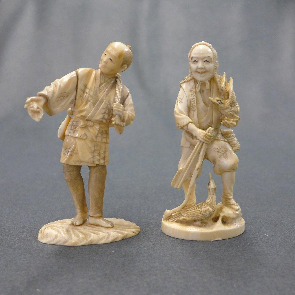 A C19th Japanese Ivory Okamono Of Hunter and similar