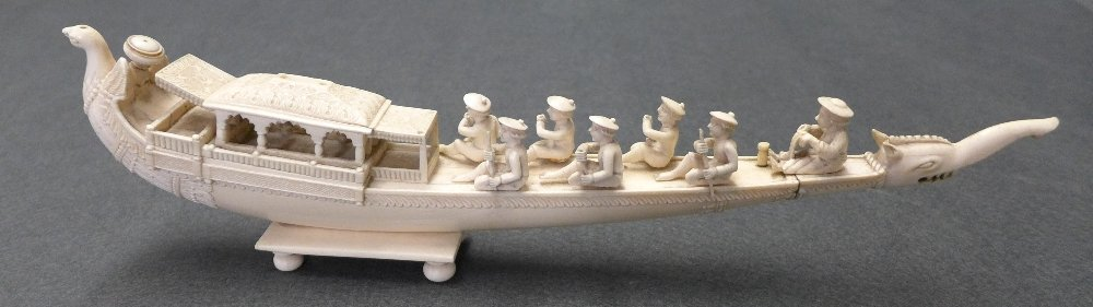 A C19th Indian Carved Ivory Boat With Phoenix Bow