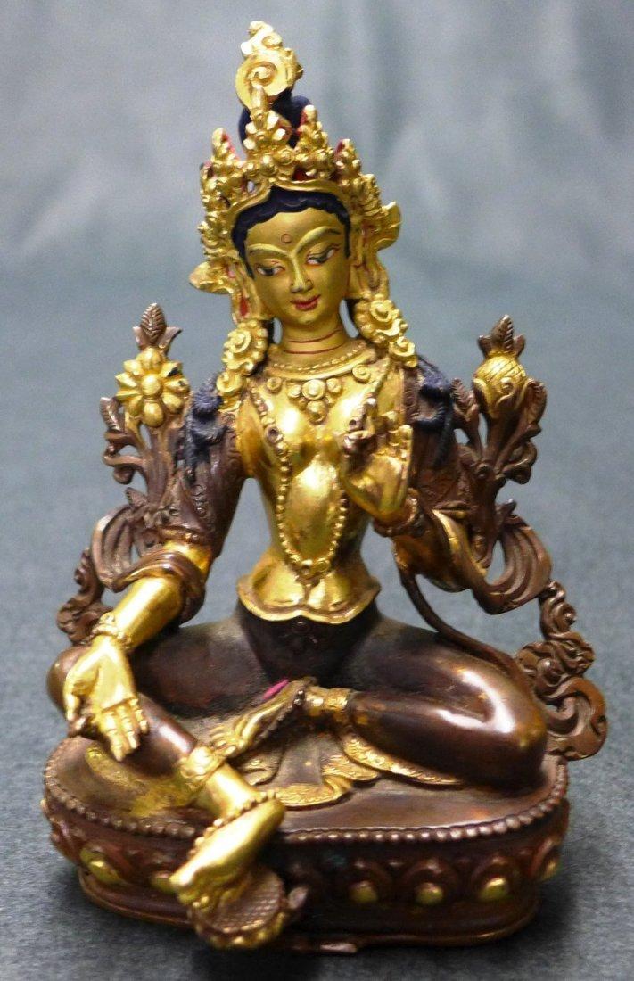 An Early C20th Fine Cast Tibetan Bronze Seated Tara