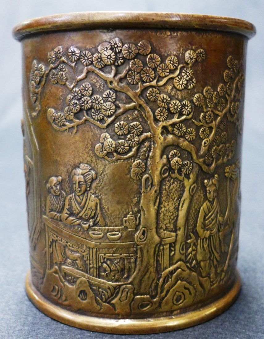 A C19th Chinese Late Qing Dynasty Bronze Brush Pot